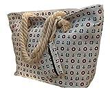 LeBag Giò - Bolsa de playa, grande con bandolera, bolso de hombro para viaje + monedero con cierre de cremallera para mujer y niña, color blanco, Color blanco., Large