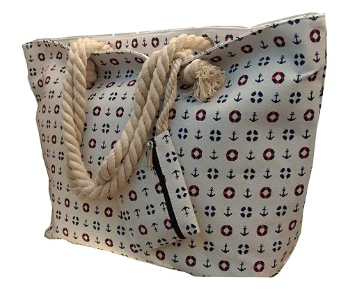LeBag Giò - Bolsa de playa, grande con bandolera, bolso de hombro para viaje + monedero con cierre de cremallera para mujer y niña, color blanco