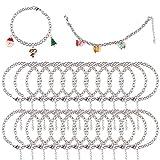 24 pulseras de cadena de acero inoxidable plateado con cierre de palanca OT para hacer joyas, manualidades, abalorios de Navidad, pulseras, manualidades para mujeres y niñas