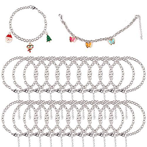 24 pcs Bracelet Chains Silver Stainless Steel Bracelet Link with OT Toggle Clasp for Jewelry Making DIY Christmas Charms Bracelets Crafts for Women Girls