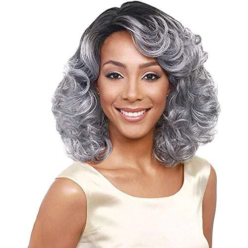 Yuyanshop Pelucas cortas de color gris plateado rizado corto Ombre Curl Pelucas Glueless Encaje frente Pelucas para mujeres Peluca sintética de aspecto natural (gris)