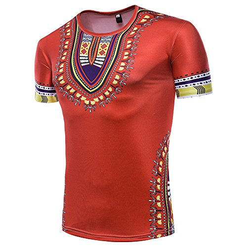Purchase Mlide Men's Dashiki Shirt Tribal African Bohemian Unisex Top Short Sleeeve Shirt Red