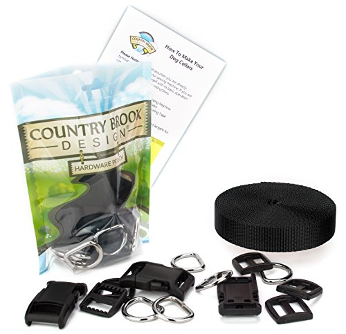 Country Brook Design 1 Inch Deluxe Dog Collar Kit with Black Nylon Webbing