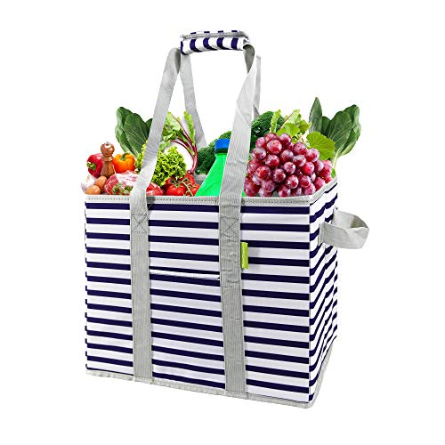 Geometric Reusable Shopper Bag Box Packable Grocery Shopping Bag 1 PCS w Long Handles Folding into Flat Durable Large Heavy Duty Groceries Gift Tote w Movable Thick Bottom Tape Holder White Blue Strip
