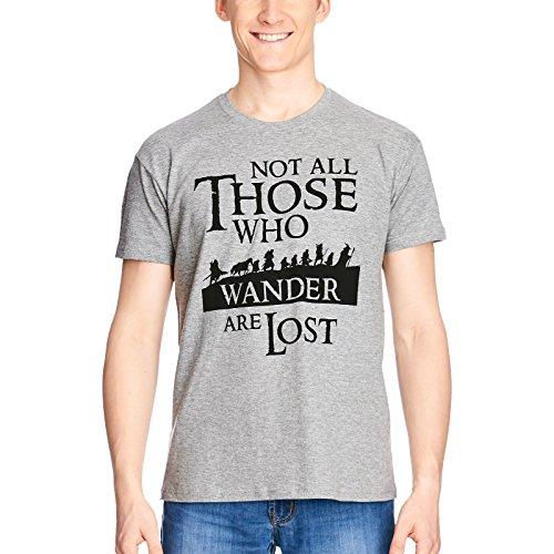 Elbenwald Herr der Ringe T-Shirt Gefährten mit Gedichtzeile Frontprint grau - M