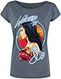 Wonder Woman Welcome To The '80s Mujer Camiseta Azul Jaspe L, 70% Poliester, 30% algodón, Ancho