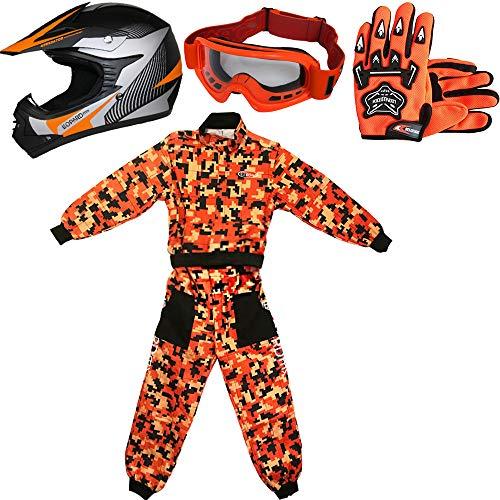 Leopard LEO-X19 Naranja Casco de Motocross para Niños (S 49-50cm) + Gafas + Guantes (S 5cm) + Camo Traje de Motocross para Niños - M (7-8 Años)