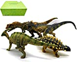 Gemini&Genius Standing Ankylosaurus Allosaurus Parasaurolophus Ceratosaurus with Movable Jaw Jurassic Park Dinosaur World Ideal Christmas New Year Gift Choice, Dino Collection Gift Box 4 Pcs Toy Set