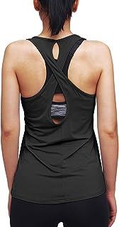 ميبو تجريب بلايز للنساء اليوغا قمصان الصليب مفتوحة الظهر رياضية تانك بلايز العضلات تانك