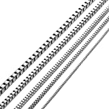 KissYan Stainless Steel 1mm to 3 mm Box Necklace 14 Inches to 36 Inches (2.4 mm/22 inches)