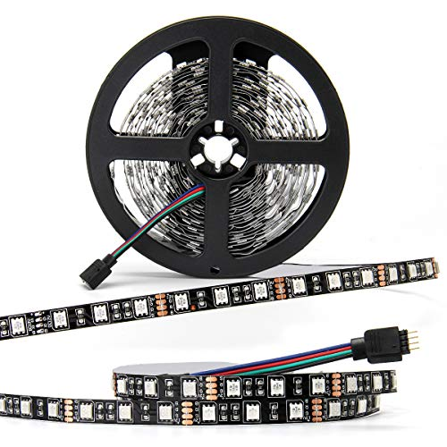 Nur Ein LED Streifen SUPERNIGHT 12v 5050 SMD Strip Non-waterproof LED Tape Multi-colors LED Strips Light 16.4ft/5m 300LEDs für Startseite Dekorative Beleuchtung[Schwarz-PCB]