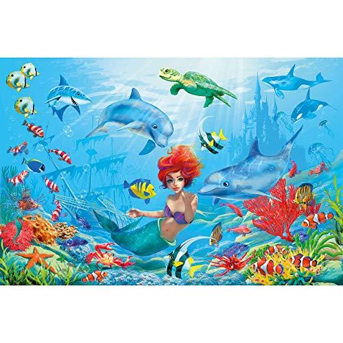 GREAT ART Fototapete Kinderzimmer – Meerjungfrau – Wandbild Dekoration Aquarium Foto-Tapete Unterwasser Bild Korallen Fische Märchen Wallpaper Wandtapete Poster Wanddeko (210 x 140 cm)