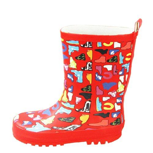 Impression Rouge pour enfant Chaussures de pluie bébé Rain Boot journée Pluvieuse l'usure en caoutchouc Chaussures