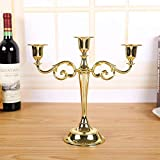 VOANZO Candelabro de Estilo Europeo, Candelabro de Metal con Tres Orificios para Bodas/Decoración del hogar (Dorado)
