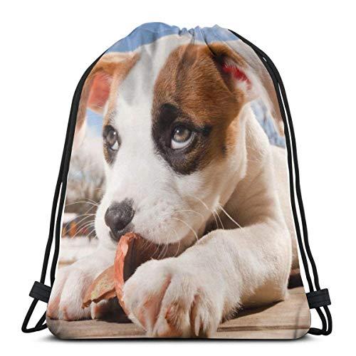LREFON Gimnasio Bolsas con cordón Mochila Pit Bull Terrier Sackpack Tote para almacenamiento deportivo Organizador de zapatos Baloncesto Botella de agua Estudiante