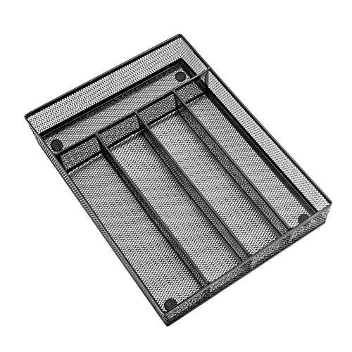 Silverware Tray Organizer for Drawer(12.5 x 9.2Inch), HaWare 5 Compartment Stainless Steel Wire Mesh Flatware Holder, Storage Small Kitchen Utensils, Super Sturdy & Easy Clean(Black)
