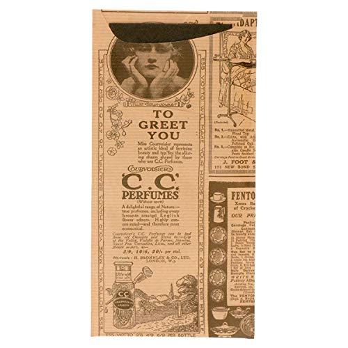 García de Pou 221.85 - Sacs Couverts + Serviette 'Just In Time - Times' 80 + 10Pe G/M2 11,2X22,5 Cm Naturel Kraft Vergé - 100 unités