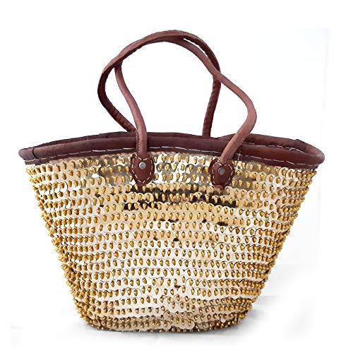 Marokkanische Korbtasche | Gold | 35cm x 45cm | Korb aus Palmblättern geflochten mit Lederhenkeln