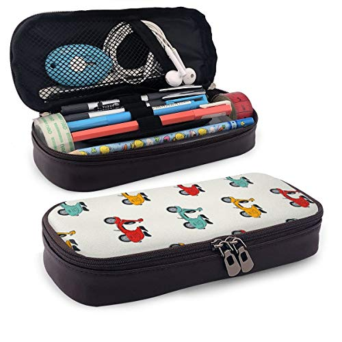 Retro Vespa Portable Leather Pencil Case Pencil Bag Pouch with Zipper Pen Holder Stationary Case for School and Office Supplies