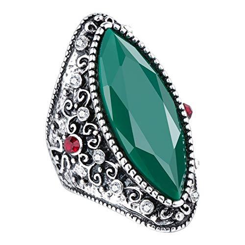 GMZWW Nieuwe geometrische groene stenen ringen voor vrouwen met witte steentjes Vintage sieraden Zilverkleurige antieke ring