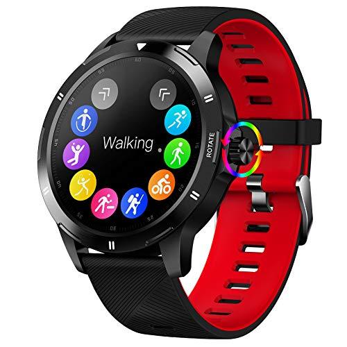 FMSBSC Smartwatch Reloj Inteligente para Hombres Mujeres con Monitor de Temperatura Frecuencia Cardíaca presión Arterial Sueño Notificaciones de Mensajes, Reloj Compatible con iOS Android,F