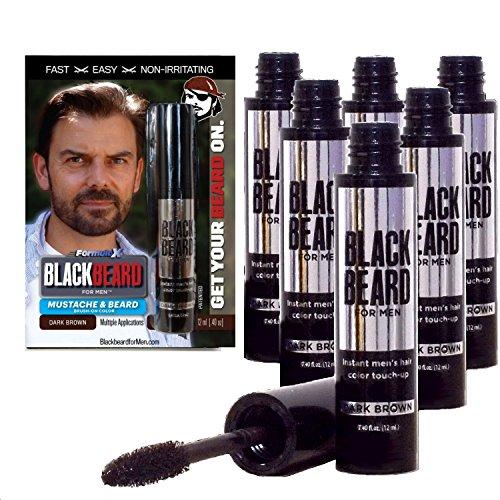 Blackbeard for Men - Instant Brush-on Beard & Mustache Color - 6-pack (Dark Brown)