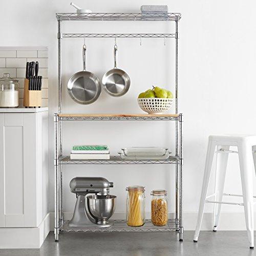 Amazon Basics - Estantería de cocina, Madera/Cromo