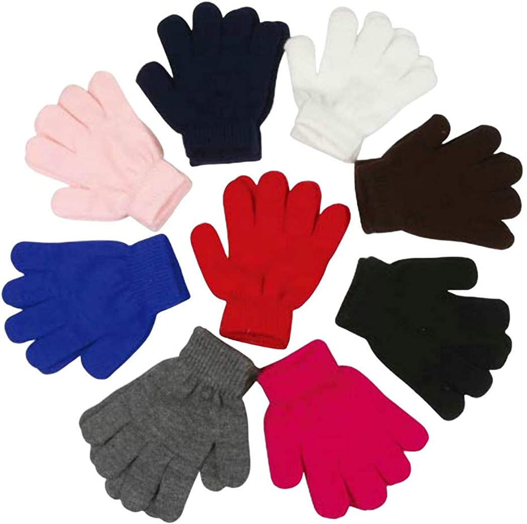 Kid's Magic Stretch Gloves - Kids Gloves Ages 3-8 Year Old - 3 Pairs