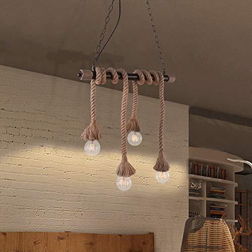 Lingkai - Lámpara de techo colgante de cuerda de cáñamo, estilo vintage, de bronce, para manualidades, industria, retro, rústica, iluminación de candelabro, moderna, chic, dining light, 4 cabezas