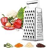 Grattugia in acciaio inox a 4 lati, grattugia quadrata di alta qualità, ideale come grattugia per patate per frutta, verdura, formaggio, carote, grattugia quadrata