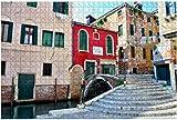 Hermoso puente de piedra Venecia Mediterráneo Romance Rompecabezas de piezas grandes para adultos, niños, entretenimiento creativo, rompecabezas educativos de madera, 1000 piezas 75 * 50 cm