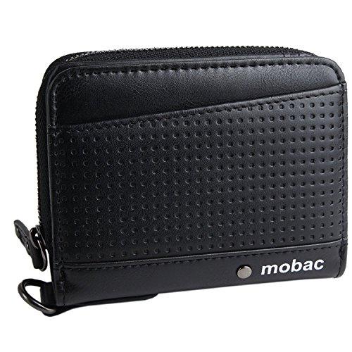 [モバック] mobac 財布 二つ折り財布 メンズ ラウンドファスナー メッシュエンボス (ネイビー)