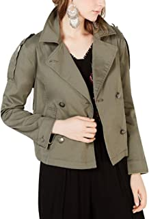 American Rag Juniors' Raw-Edged Epaulette Military Jacket Dusty Olive Size XS