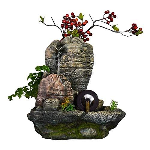 HJHJ Fuente creativa creativa de escritorio fuente de agua de resina simulando piedra de montaña baya decoración relajante función cascada fuente de escritorio regalo (color: sin anillo de lámpara)