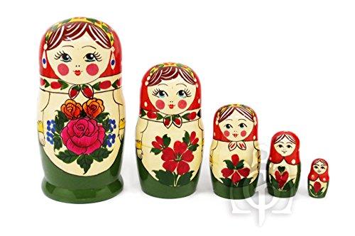 セミョーノフ産 マトリョーシカ 「アリョンカ 5個組」 16cm 伝統柄 ORANGE [ロシア製]