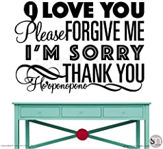 CLIFFBENNETT Wall Decal Ho'oponopono Quote I'm Sorry, I Love You, Please Forgive me, Thank You Surface Graphics Made