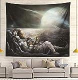 Astronautes Ciel étoilé Aviation Tapisserie Mandala Tapisseries Art mural Hippie Tenture murale Bohème Couvre-lit 200 * 150Cm