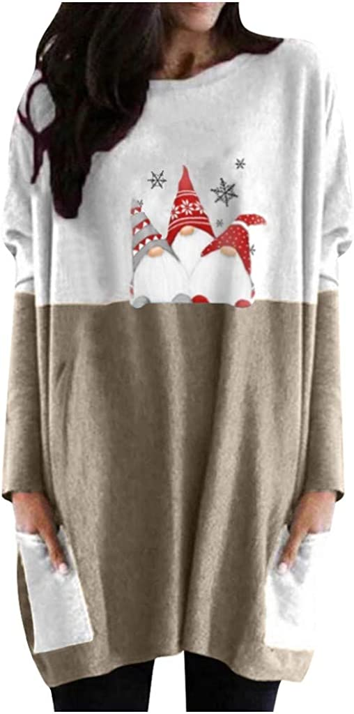 Plus Size Casual Blouses for Women, Long Sleeve Round Neck Christmas Snowman Printing Loose Tops with Pockets