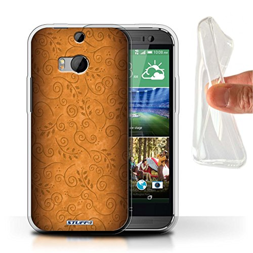 Stuff4 Gel TPU hoes/hoes voor HTC One/1 M8 / oranje patroon/bladeren boor patroon collectie