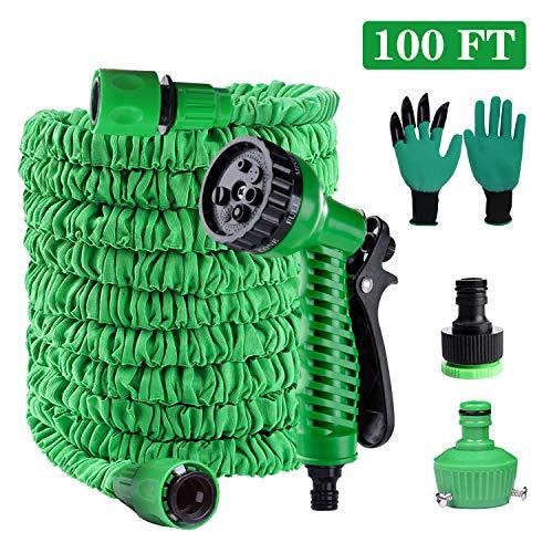 Manguera de jardín flexible, 100 FT/30 m, manguera de jardín, manguera extensible con 8 funciones, ducha de mano y guantes de jardín, pistola de pulverización para lavado de coche, etc.