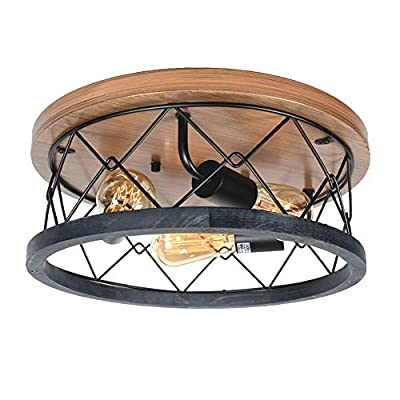 Baiwaiz Round Wood Farmhouse Ceiling Lighting, Rustic Flush Mount Ceiling Light Industrial Black Metal Wire Cage Light Fixture with Faux Wood Painted Metal Canopy 3 Lights Edison E26 121C