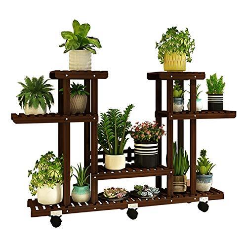 Pflanzentreppe Pflanzenregal Holz Mehrstöckig Blumenregal Mit Rollen Blumenständer Platzsparend Balkon Innen Dekor Pflanzenständer MDELRuldeⓘ