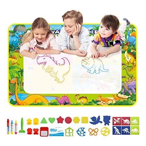 LEADSTAR Agua Dibujo Pintura, 110x70cm Doodle Agua, Alfombra de Agua Doodle, Pizarra Mágica, Esteras de Agua Doodle Juegos Juguetes Educativo con 3 Bolígrafos 10 Plantillas 4 Sellos para Niños 3+ Años
