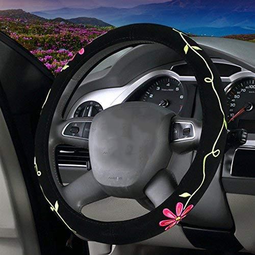 TOOGOO Automotive Coprivolante per Auto Carino Ricamo Femminile Fiori Gemelli