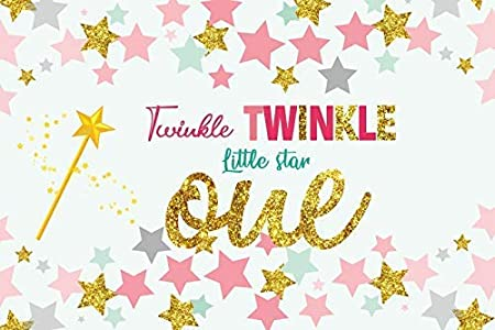 10x8ft Background for Photography Twinke Twinkle Little Star Gold Glitter Starry Sky Photo Backdrop Baby Birthday Decoration Banner Girl Boy Kid Photographic Studio Props Photo Studio Booth