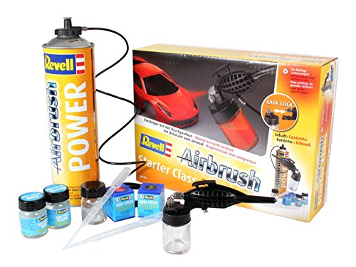 Revell REV-39196 Airbrush-Set Starter Class mit Spritzpistole, Druckluftdose, Zubehör Brush, Rot+Schwarz