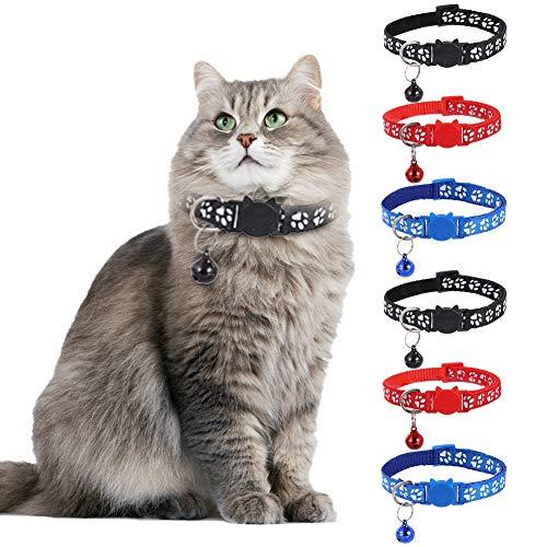 SUI-lim 6 Stück Katzenhalsband, Katzenhalsbänder mit Glocke und Sicherheitsschnellverschluss, Verstellbar 19–32 cm, für Katzen oder kleine Hunde(Rot, Blau, Schwarz)