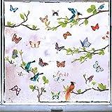 2 Pcs Pegatinas Pared Colores Arbol Pájaro Ave Mariposa Flores Pegatinas Adhesivas Decoración para Pared Ventana Armario Nevera Sala Hogar Dormitorio Oficina Restaurante