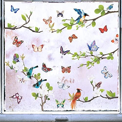 2 Pz 30*60cm Adesivi Murali da Parete Fiore Uccelli su Albero Rami Farfalla Colorato Decorazione Stickers Finestra Muro Armadio per Soggiorno Camera da Letto Cameretta
