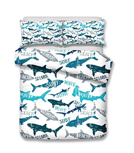 SURF WAVE SHARK 3D Bedding Set Print Duvet cover set lifelike bed sheet #2 (single)